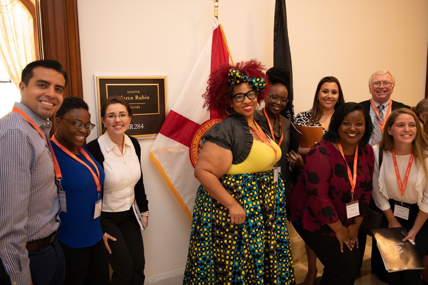 Tiffany Kelley, center, with Bread activists from Florida during the 2018 Advocacy Summit and Lobby Day. Howard Wilson for Bread for the World.