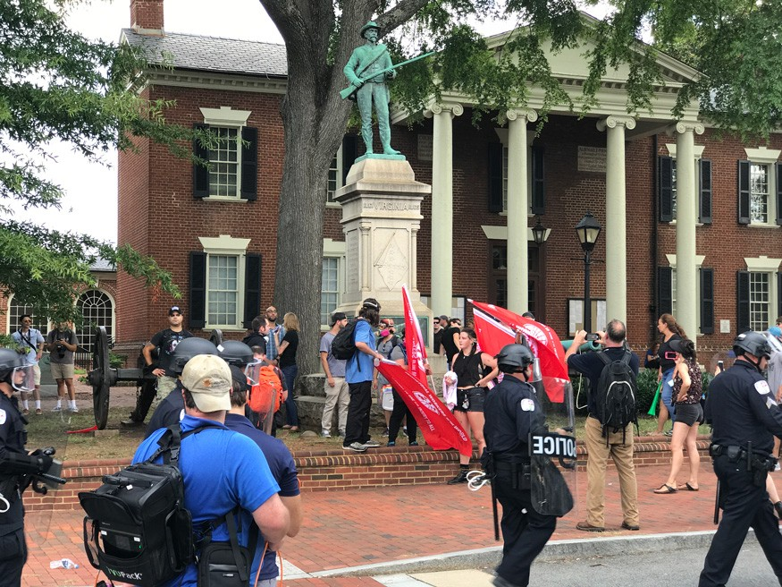 Counter-protestors in Justice Park in Charlottesville, Va. Anthony Crider/Wikimedia Commons.