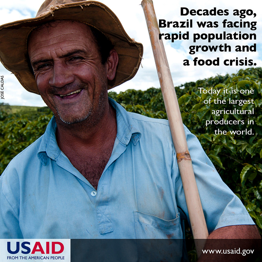 After facing a food crisis a decade ago, Brazil is one of the largest exporter of agricultural products. Photo: USAID