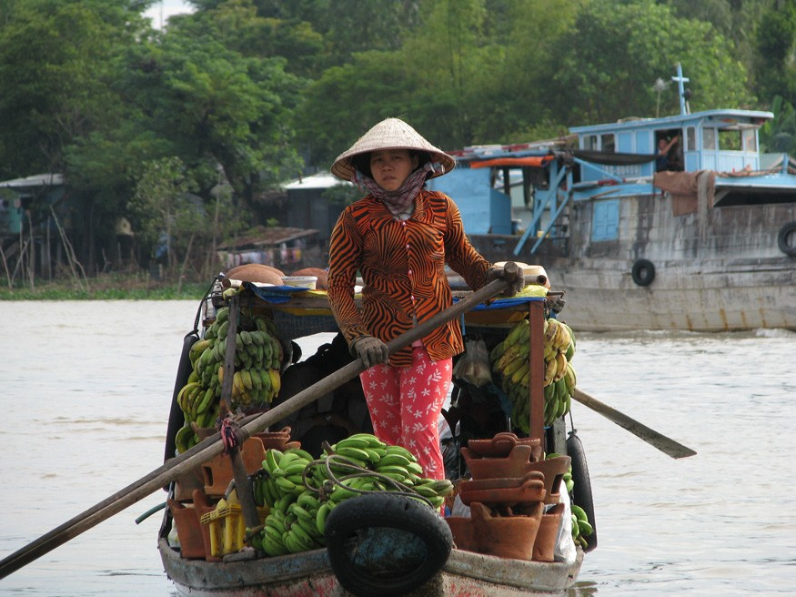 A woman rows her load of bananas toward Chau Doc in the Mekong Delta region for sale at the market. McKay Savage/Wikimedia Commons.