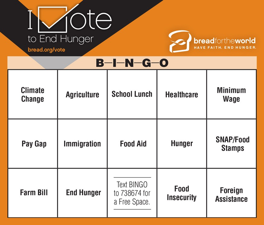 Play bingo while you watch the presidential and vice presidential debates! Graphic by Doug Puller / Bread for the World